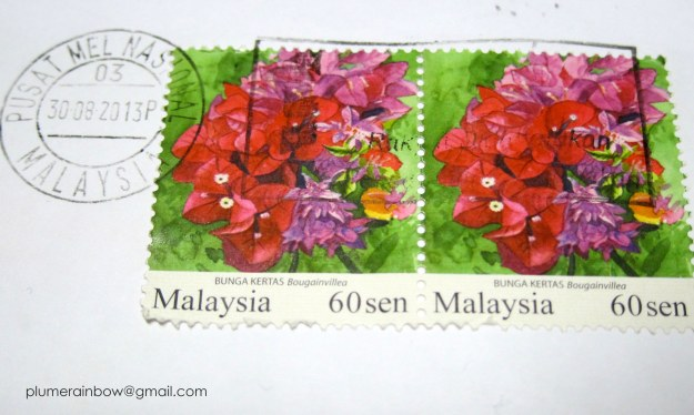 Artistic rendition of the bougainvillea on a Malaysia stamp.